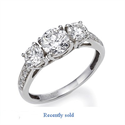 Picture of 3 stone diamond ring settings with side diamonds