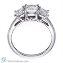 Picture of 3 stone diamond ring, Princess cut, side diamonds