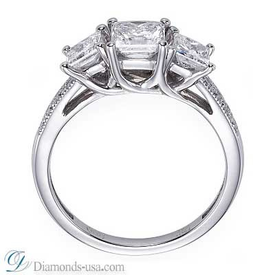 3 stone diamond ring, Princess cut, side diamonds