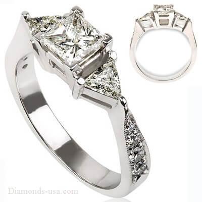 Anillo de compromiso, de diamantes de 3 piedras, con lados triangulares