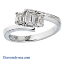 Picture of Embracing emerald cut three stone ring