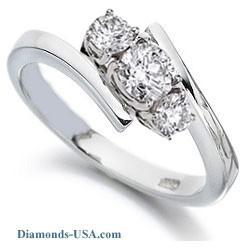 Anillo de compromiso, abrazadera con tres diamantes