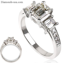 Foto Anillo de compromiso, anillo de tres Esmeraldas de