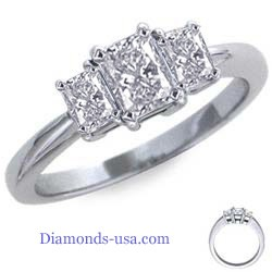 Radiant cut three stone engagement ring