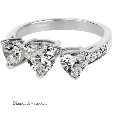 Three Heart Shaped ring