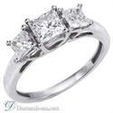 Foto Anillo de compromiso, de diamantes de tres piedras, réplica de Tiffany Lucida de