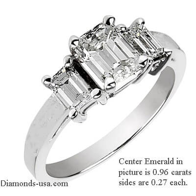 Three rectangular diamonds ring