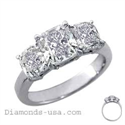 Picture of Three stones Cushion cut diamond ring-settings