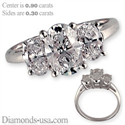 Picture of Three stones oval diamond ring,shared prongs