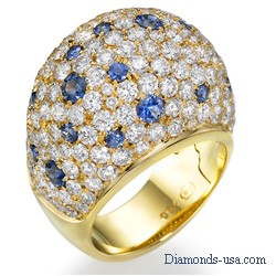 Diamond & Blue Sapphires dome cocktail ring