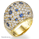 Picture of Diamond & Blue Sapphires dome cocktail ring