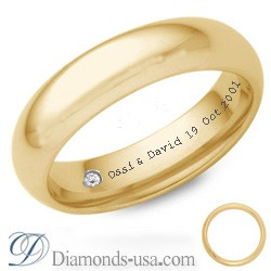 Diamond and inscription wedding ring-4.7mm