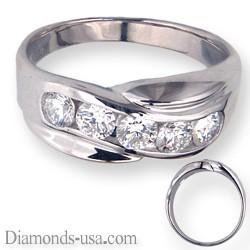 1 carat five diamonds man diamond ring.