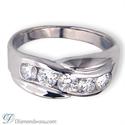 Foto Anillo de diamantes de 1 quilate para hombre con 5 diamantes. de