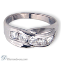 Picture of 1 carat five diamonds man diamond ring.