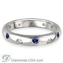 Foto Anillo de boda con diamantes y zafiros azules, 3,7 mm.  de