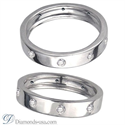 Picture of Flat surface diamond wedding ring, 4.5mm.