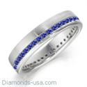 Foto Alianza de boda con zafiros azul real redondos de