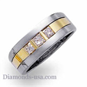 Picture of Three princess cut diamonds, Men Diamond ring.