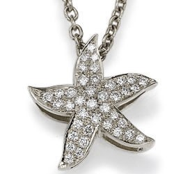 The diamonds Star Fish pendant