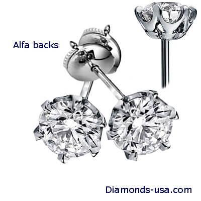 Flower designers stud earrings, 6 prongs