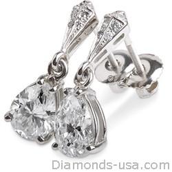 Pendiente perno y colgante de diamante en forma de pera