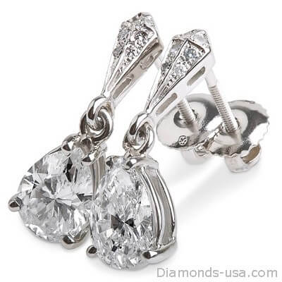 Stud and drop Pear shape diamond earrings