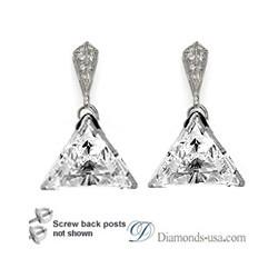 Stud and drop Triangle diamond earrings-settings