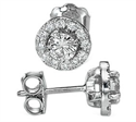 Picture of Halo earring studs, 0.31 carats side diamonds