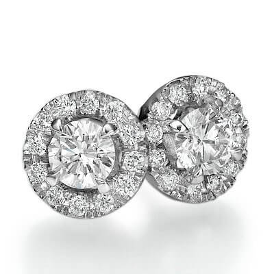 Pendientes de perno con Halo, diamantes laterales de 0,31 Ct.
