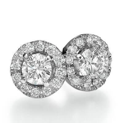 Halo earring studs, 0.31 carats side diamonds