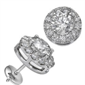 Picture of Round diamonds Halo earring studs