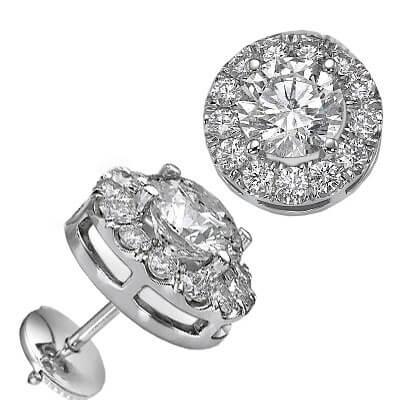 Round diamonds Halo earring studs