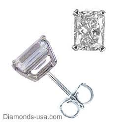 Pendientes de perno de diamantes de corte Radiante