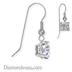 French wire hinged earrings,Princess diamond