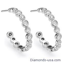 Pendientes de aro grande con diamantes de 1,15 quilates