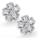 Foto Pendientes de diamantes en forma de flor, 0,55 quilates de