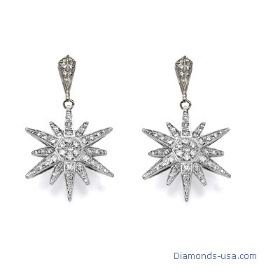 Pendientes de diamantes en forma de estrella , 0,75 quilates