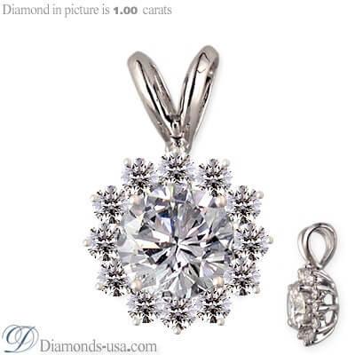 Cluster pendant for round diamonds