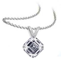 Solitaire Pendant for Asscher cut diamonds