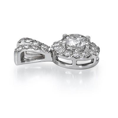 Halo Colgante de diamantes, lados de 3/4 Ct.