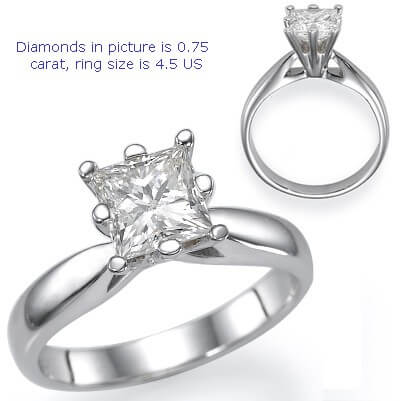 Martini solitaire engagement ring for Princess