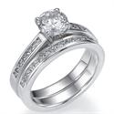 Foto Set nupcial de diamantes Princesa laterales de 0,55 Ct de
