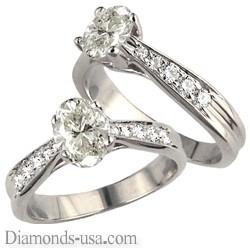 1/2 carat side stones Criss Cross bridal ring sets