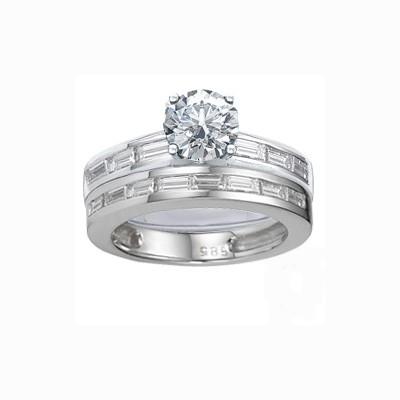 Baguette diamonds Bridal set rings