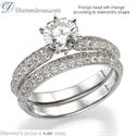 Foto Anillo nupcial conjunto con diamantes laterales conjunto Pave de
