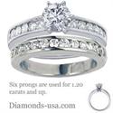 Foto Juegos de anillos nupciales con diamantes redondos laterales de