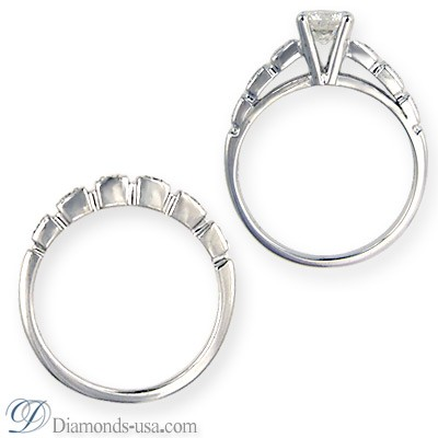 Bridal ring sets with round side diamonds