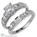 Foto Conjuntos de anillos de novia con diamantes laterales redondos de
