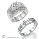 Picture of Bridal rings set with 2.40 carats Princess diamonds